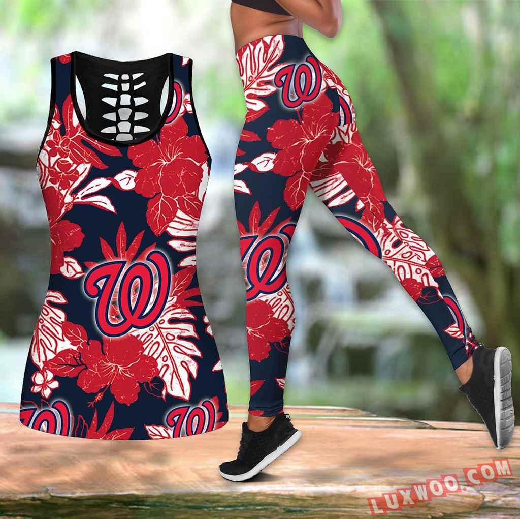 Combo Washington Nationals Hawaiian Tropical Flower Hollow Tanktop Legging Set Outfit V1580