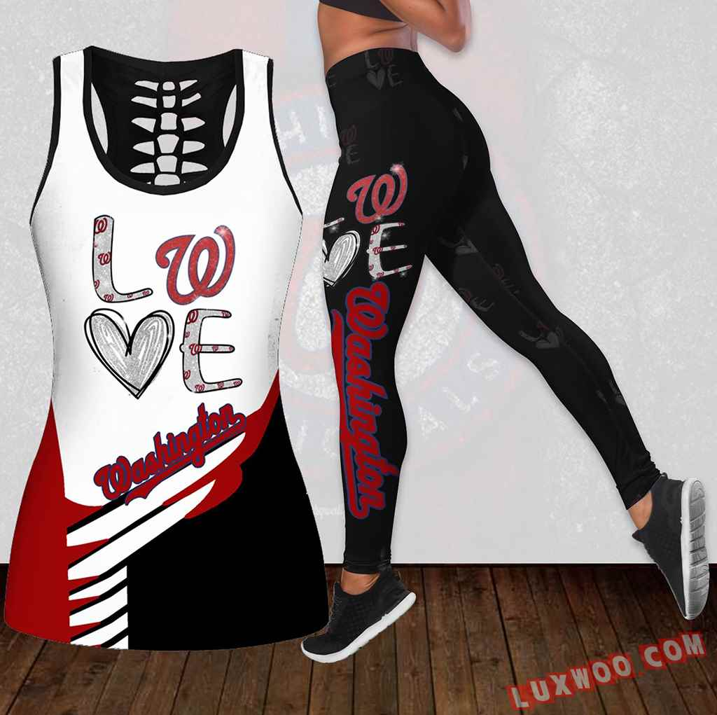 Combo Washington Nationals Love Hollow Tanktop Legging Set Outfit K1889