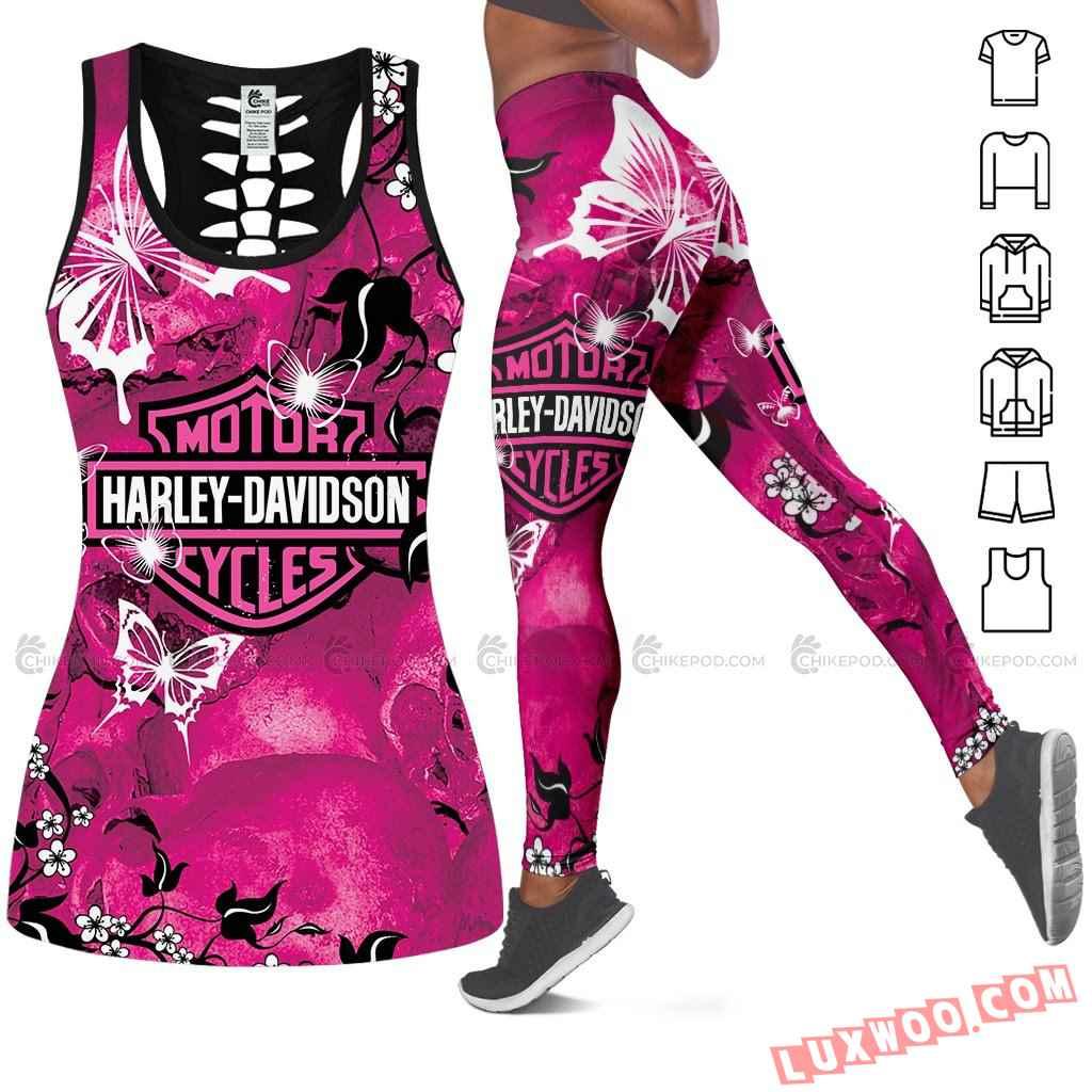 Harley Davidson Hollow Tank Top Leggings All Over Print Ts239