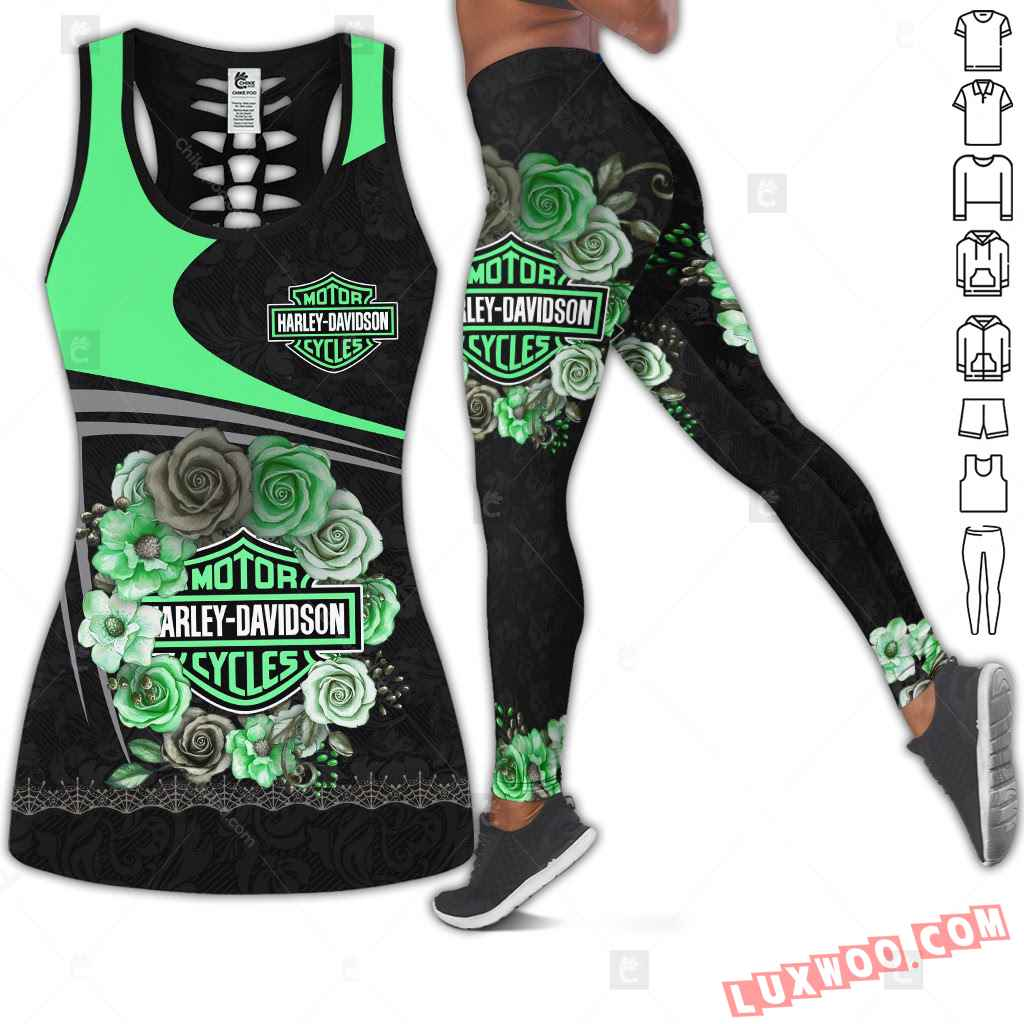 Love Green Motorbike Hollow Out Tank Top And Leggings Cm506