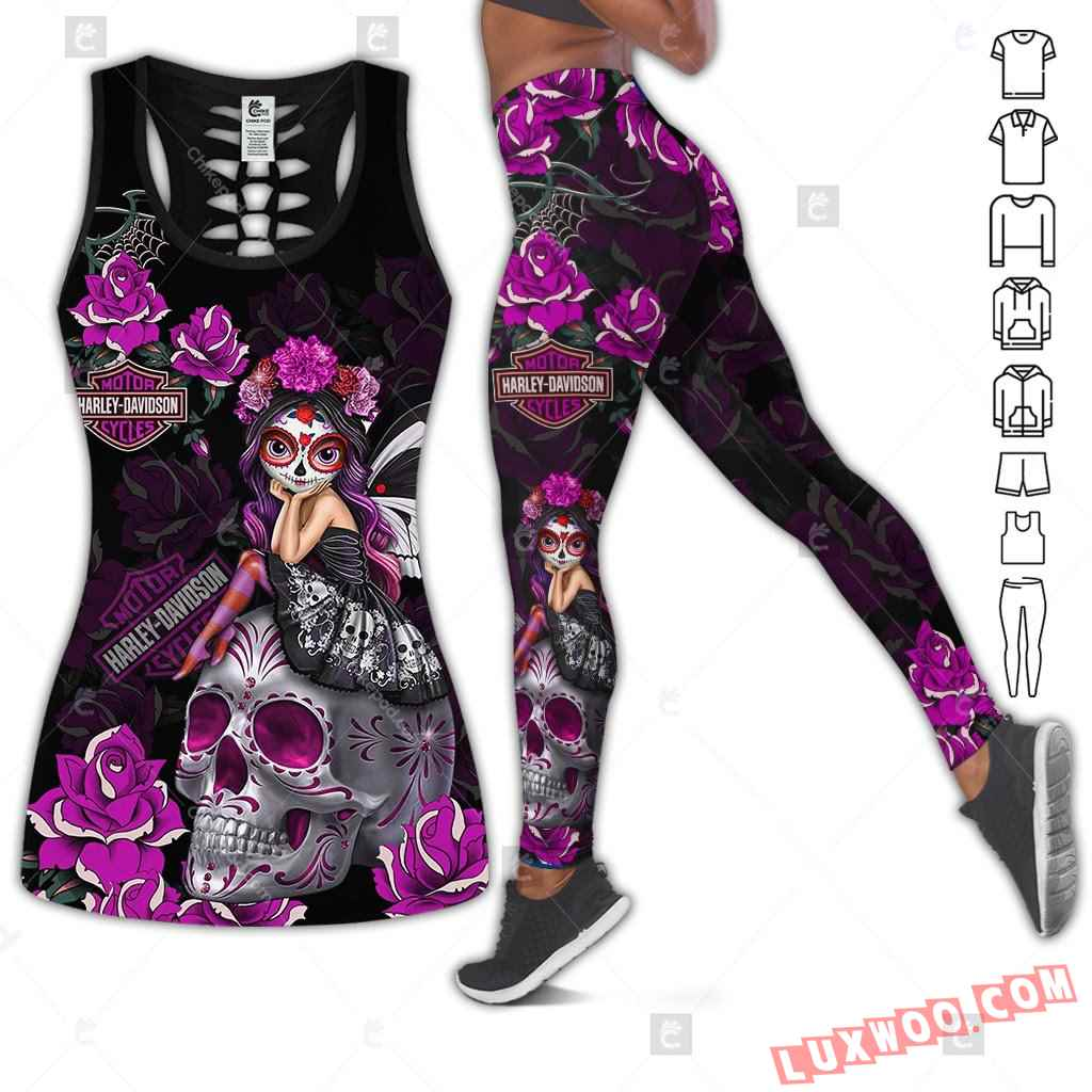 Love Motorbike Hollow Out Tank Top And Leggings Bc537