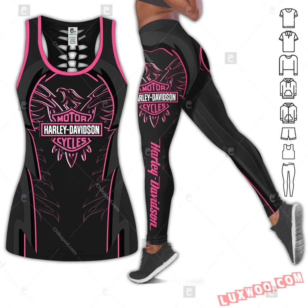 Love Motorbike Hollow Out Tank Top And Leggings Bc544