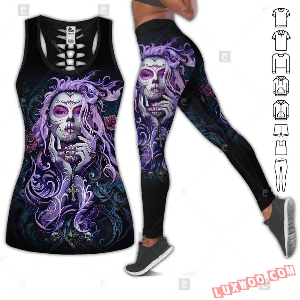 Love Motorbike Hollow Out Tank Top And Leggings Bc549