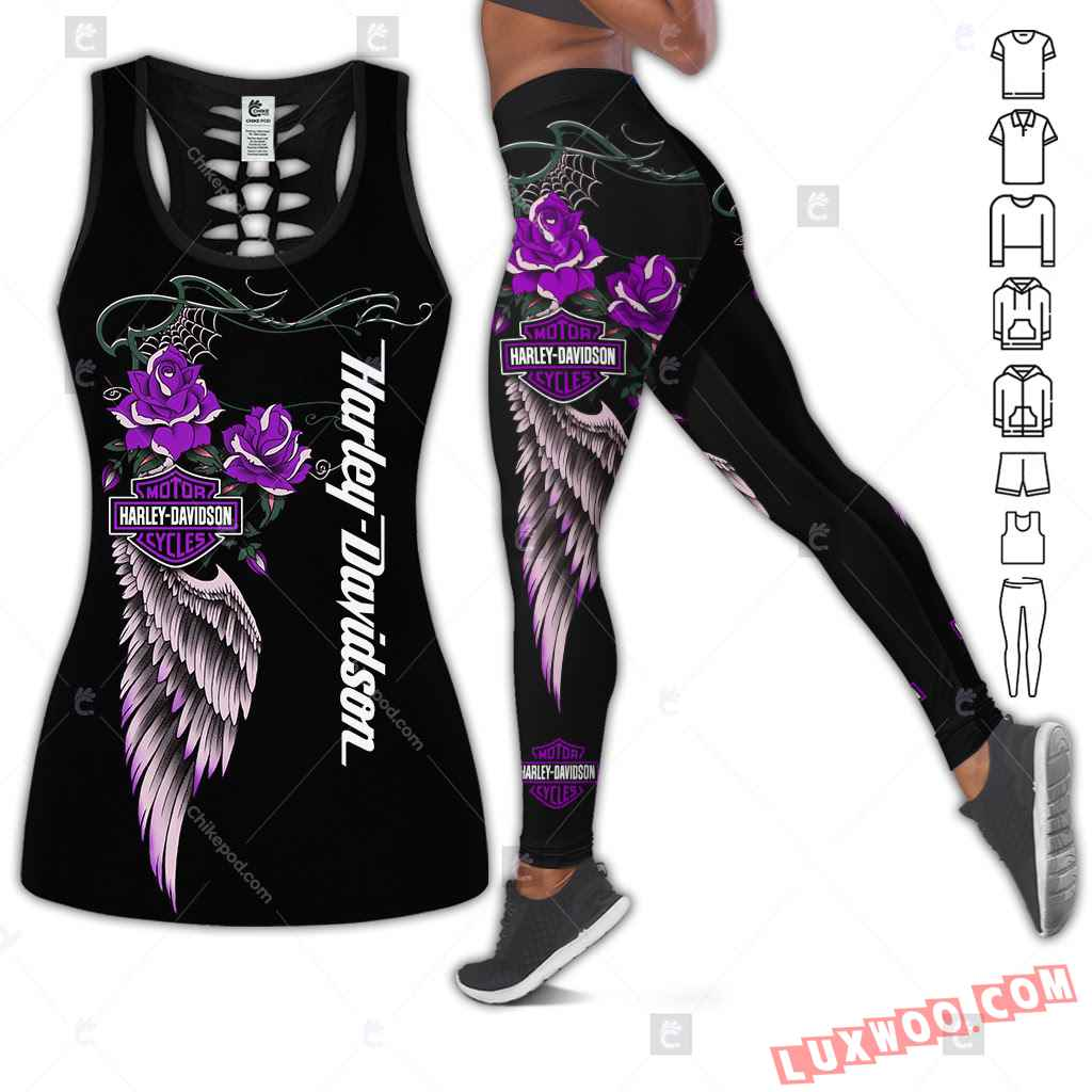 Love Motorbike Hollow Out Tank Top And Leggings Bc597