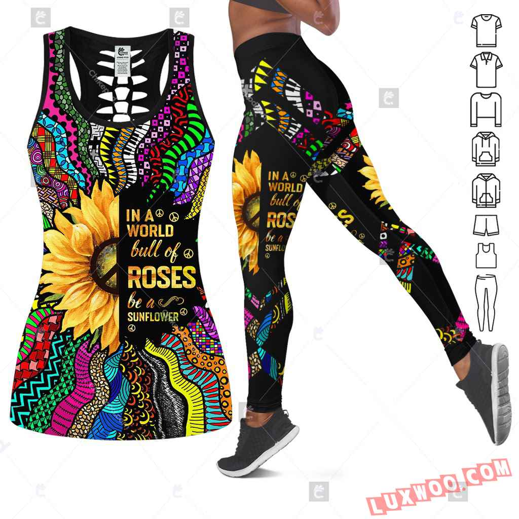 Love Motorbike Hollow Out Tank Top And Leggings Bc629