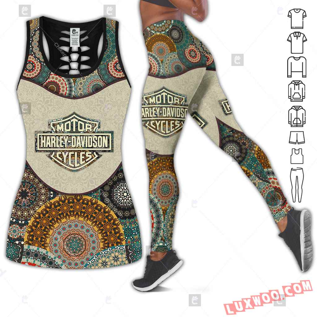 Love Motorbike Hollow Out Tank Top And Leggings Bc652