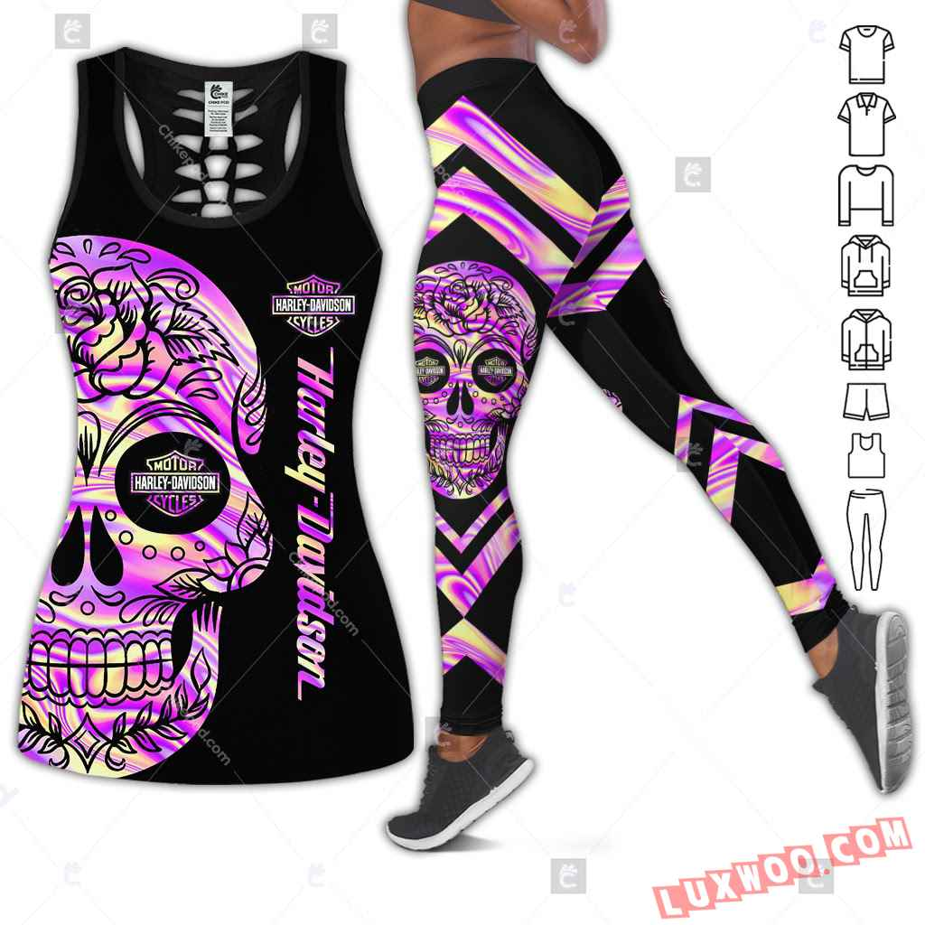 Love Motorbike Hollow Out Tank Top And Leggings Bc701