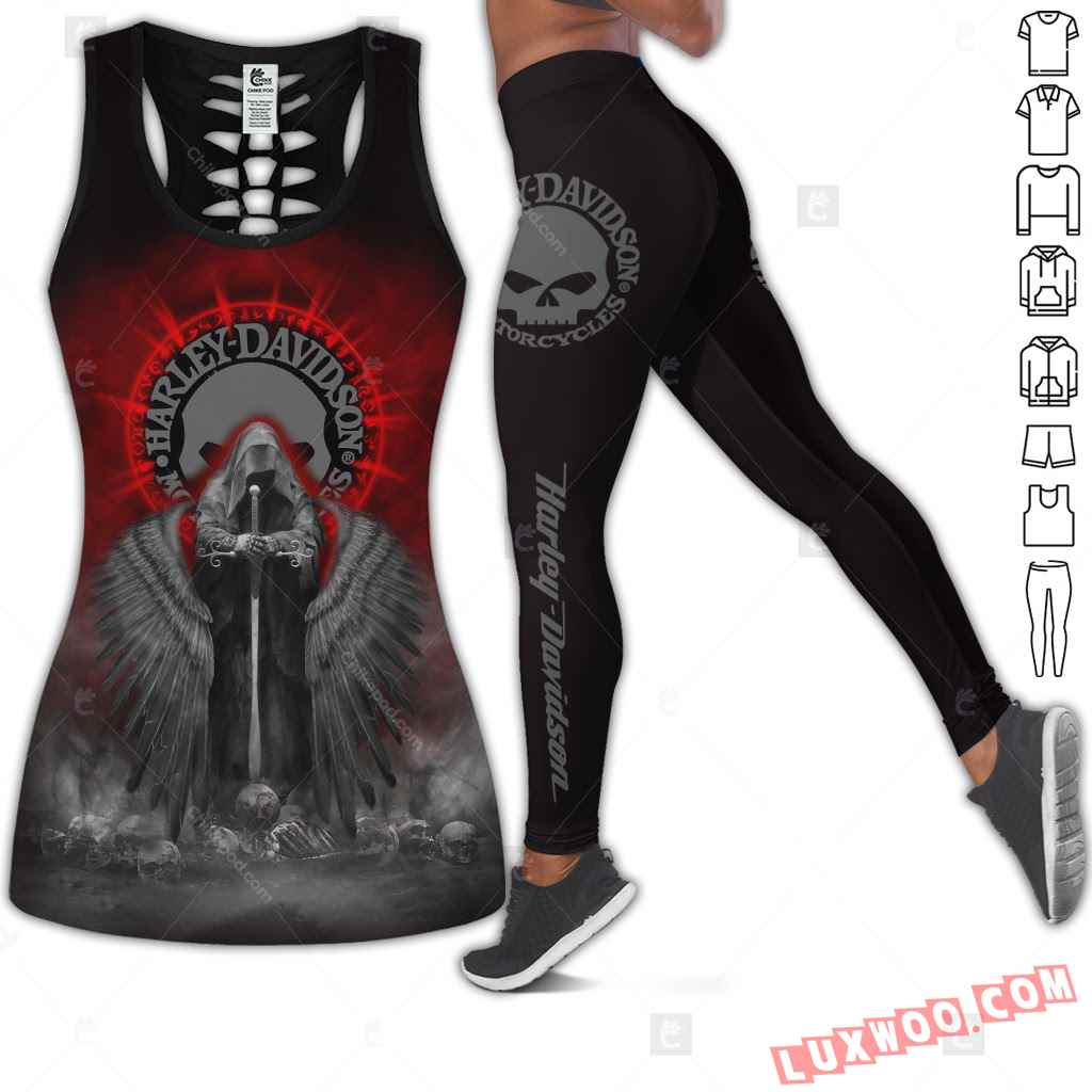 Love Motorbike Hollow Out Tank Top And Leggings Cm380