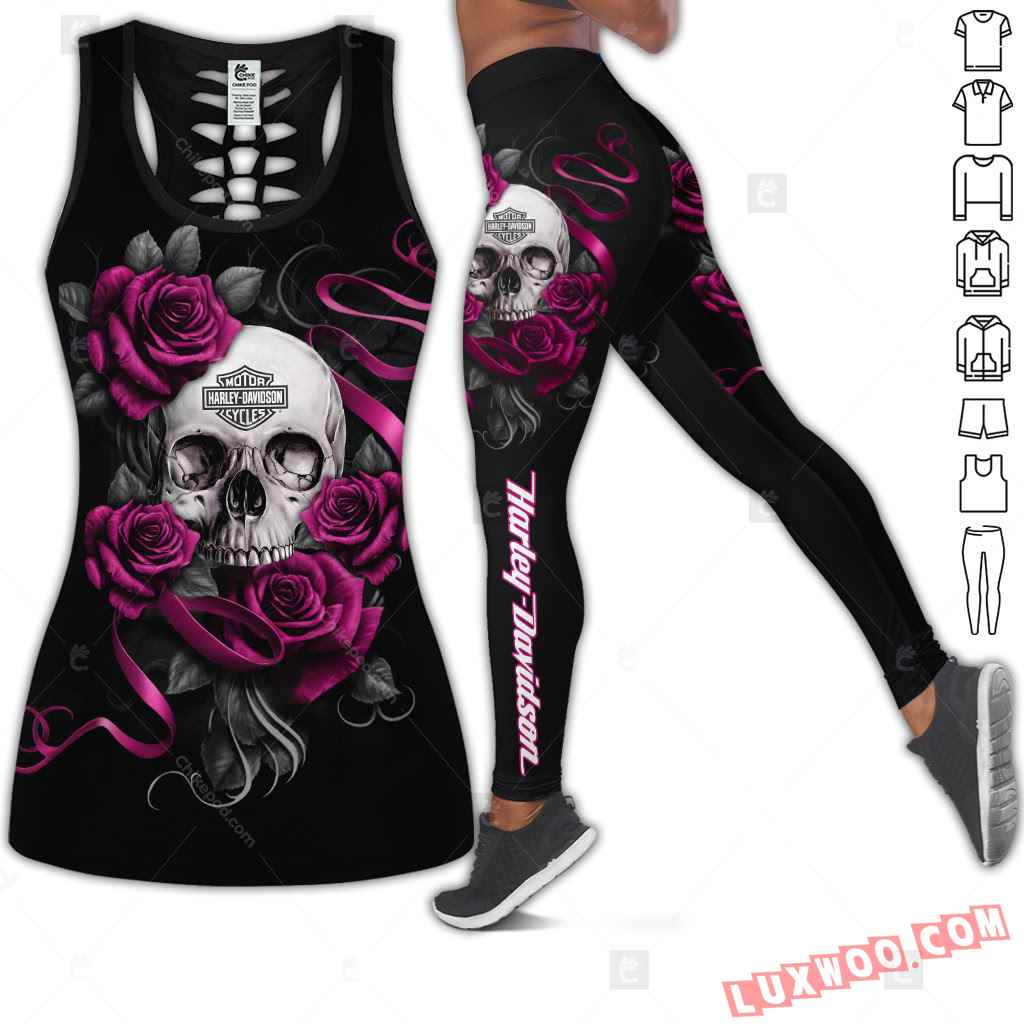 Love Motorbike Hollow Out Tank Top And Leggings Cm422