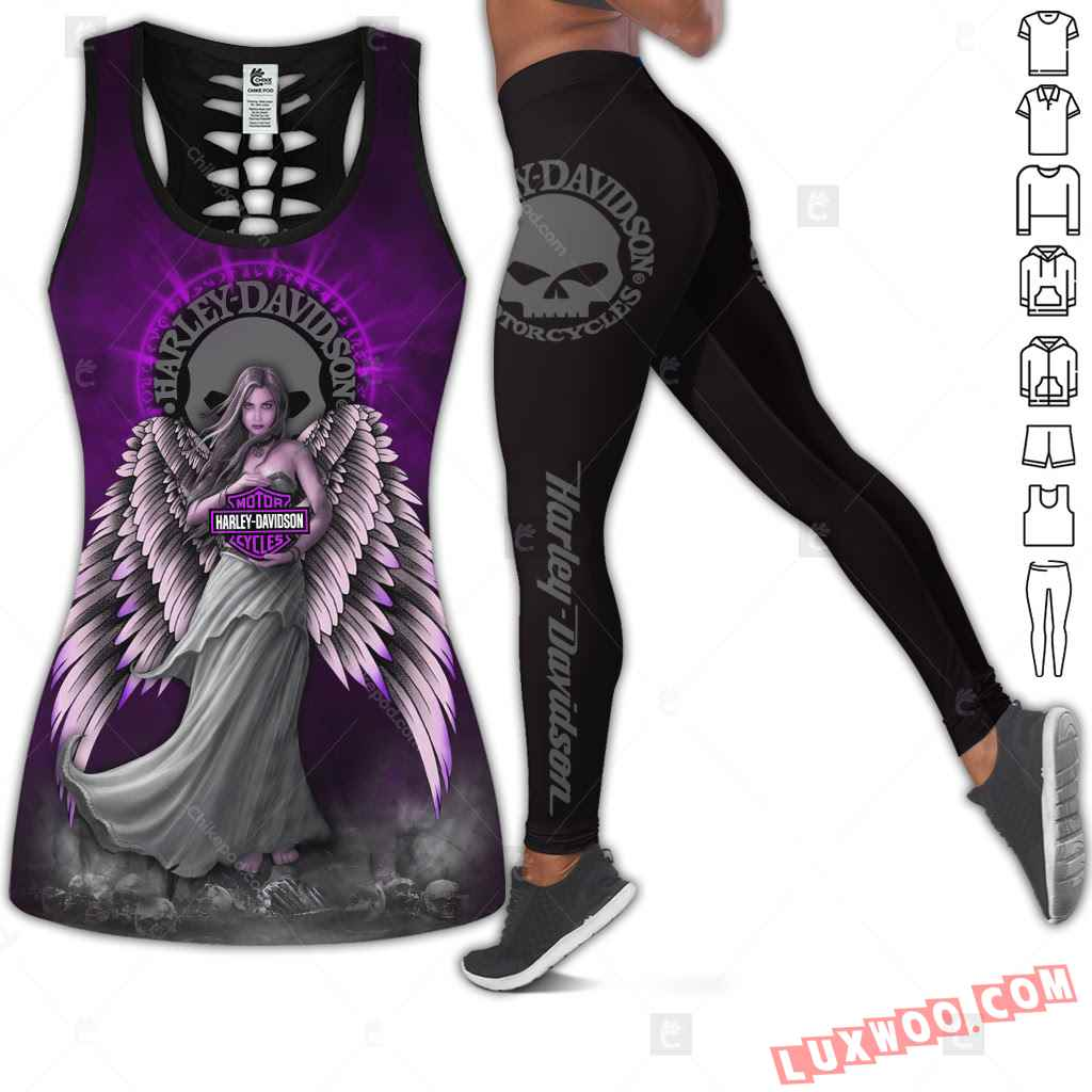 Love Motorbike Hollow Out Tank Top And Leggings Cm428