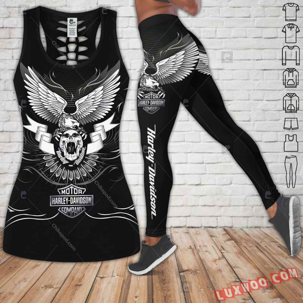 Love Motorbike Hollow Out Tank Top And Leggings Cm579