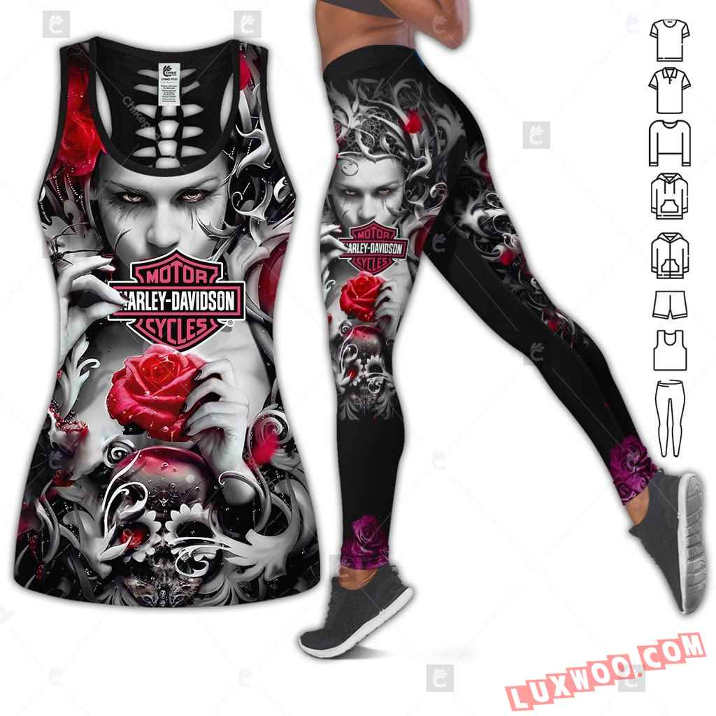 Love Motorbike Hollow Out Tank Top And Leggings Hk29