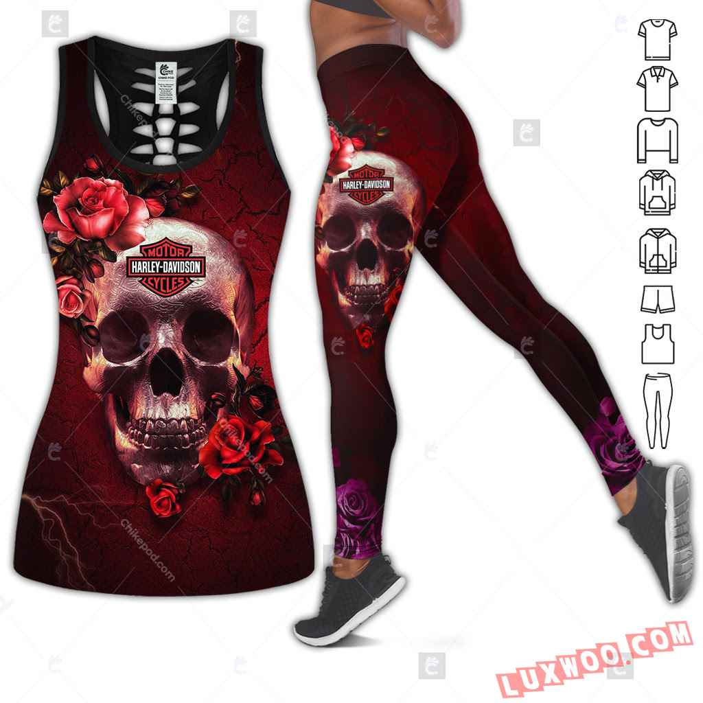 Love Motorbike Hollow Out Tank Top And Leggings Hk38