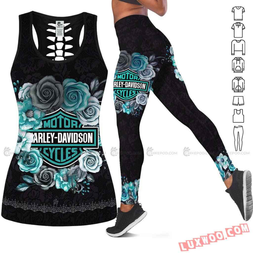 Love Motorbike Hollow Out Tank Top And Leggings Nc559