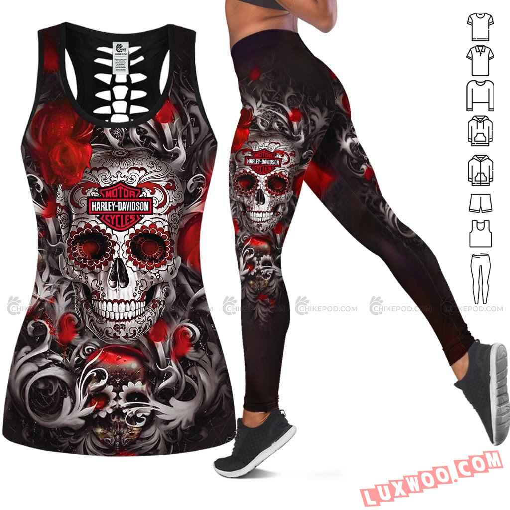 Love Motorbike Hollow Out Tank Top And Leggings Nc567