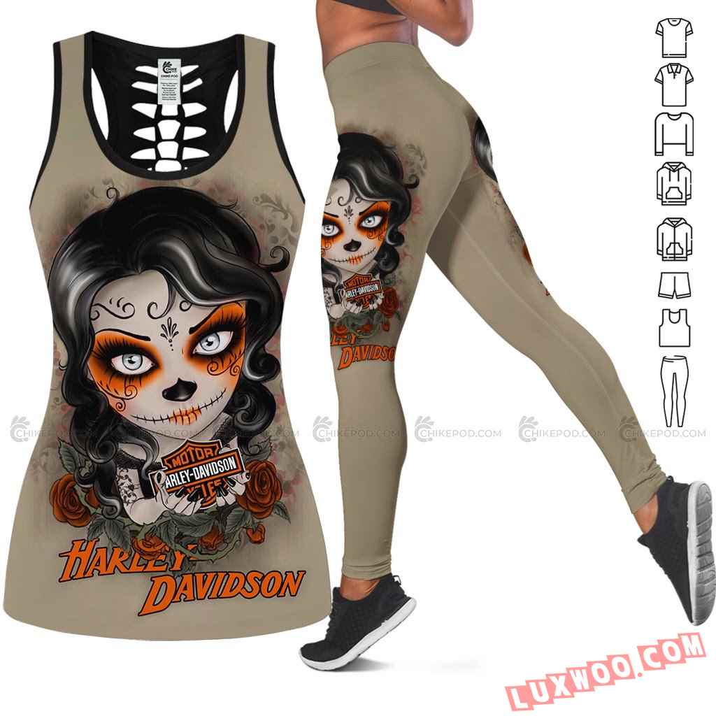 Love Motorbike Hollow Out Tank Top And Leggings Nc576