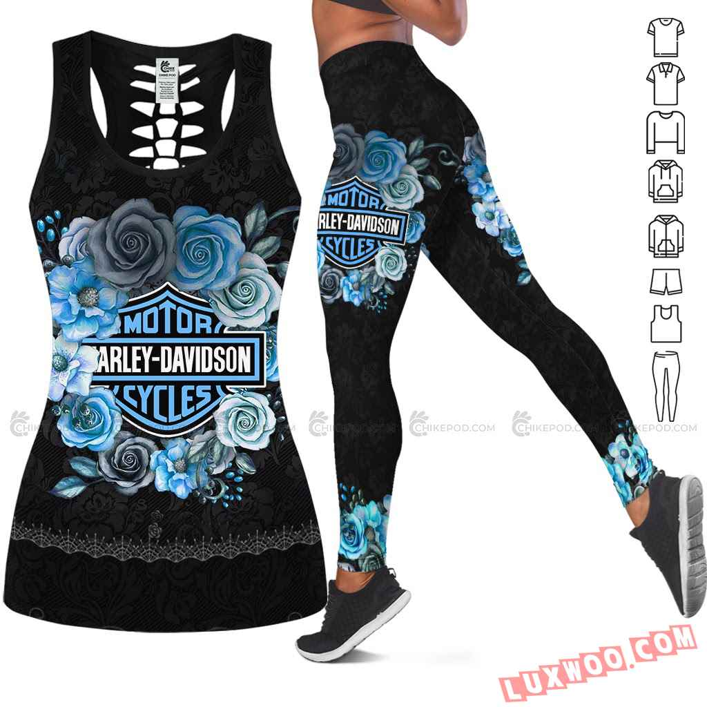 Love Motorbike Hollow Out Tank Top And Leggings Nc597
