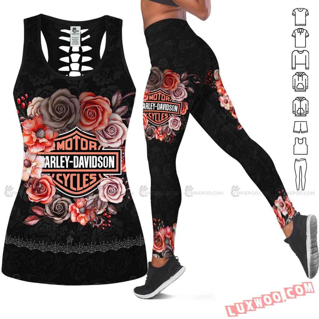 Love Motorbike Hollow Out Tank Top And Leggings Nc599