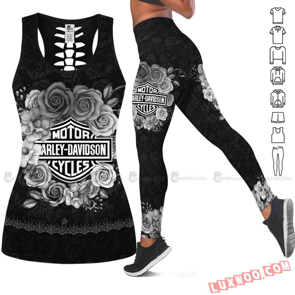 Love Motorbike Hollow Out Tank Top And Leggings Nc601