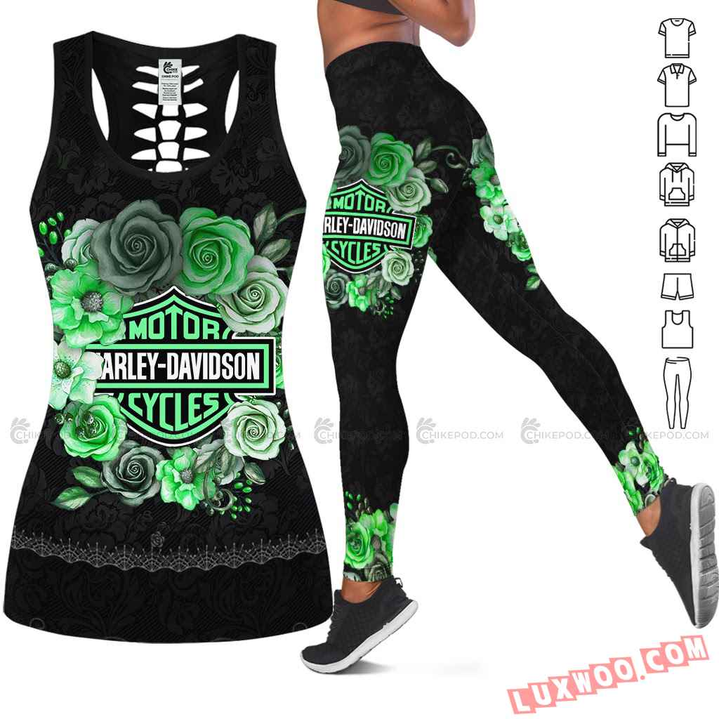 Love Motorbike Hollow Out Tank Top And Leggings Nc604