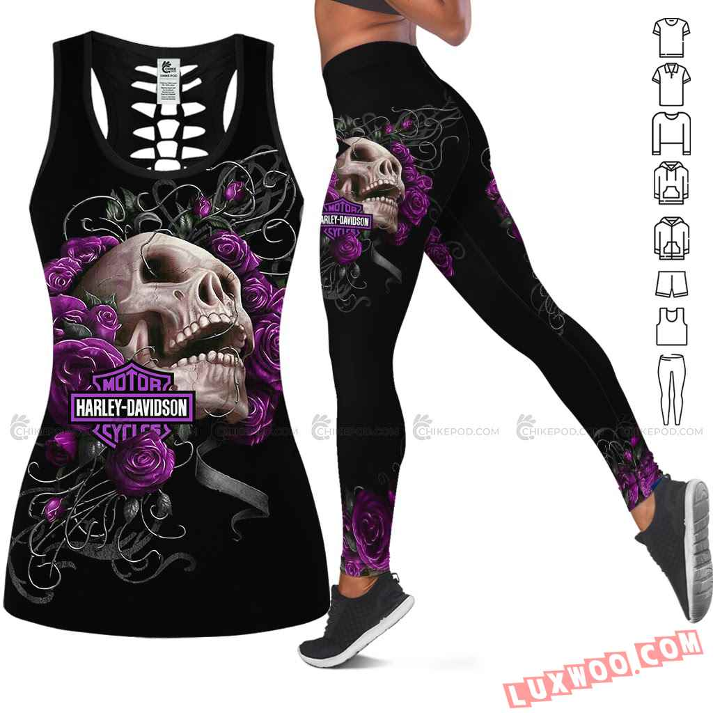 Love Motorbike Hollow Out Tank Top And Leggings Nc614