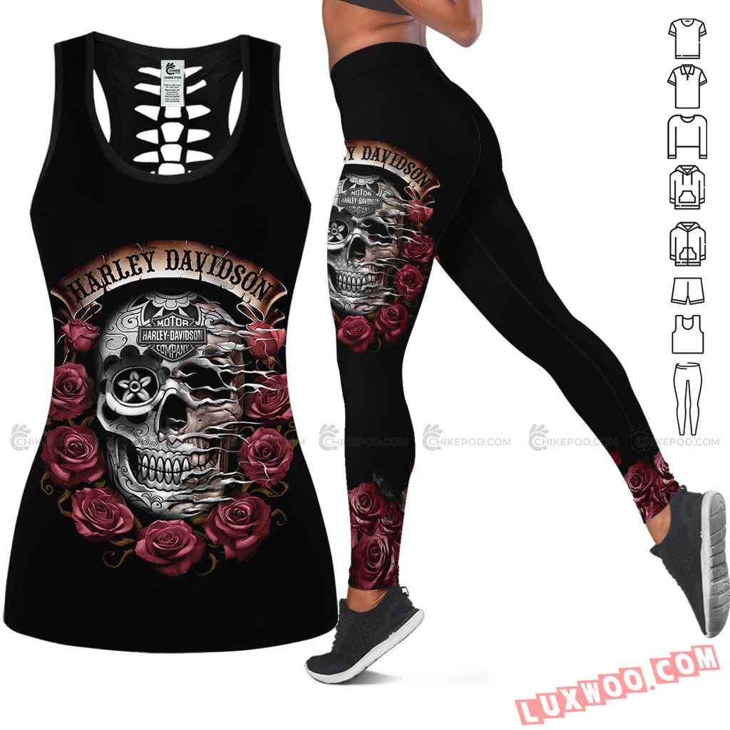 Love Motorbike Hollow Out Tank Top And Leggings Nc660