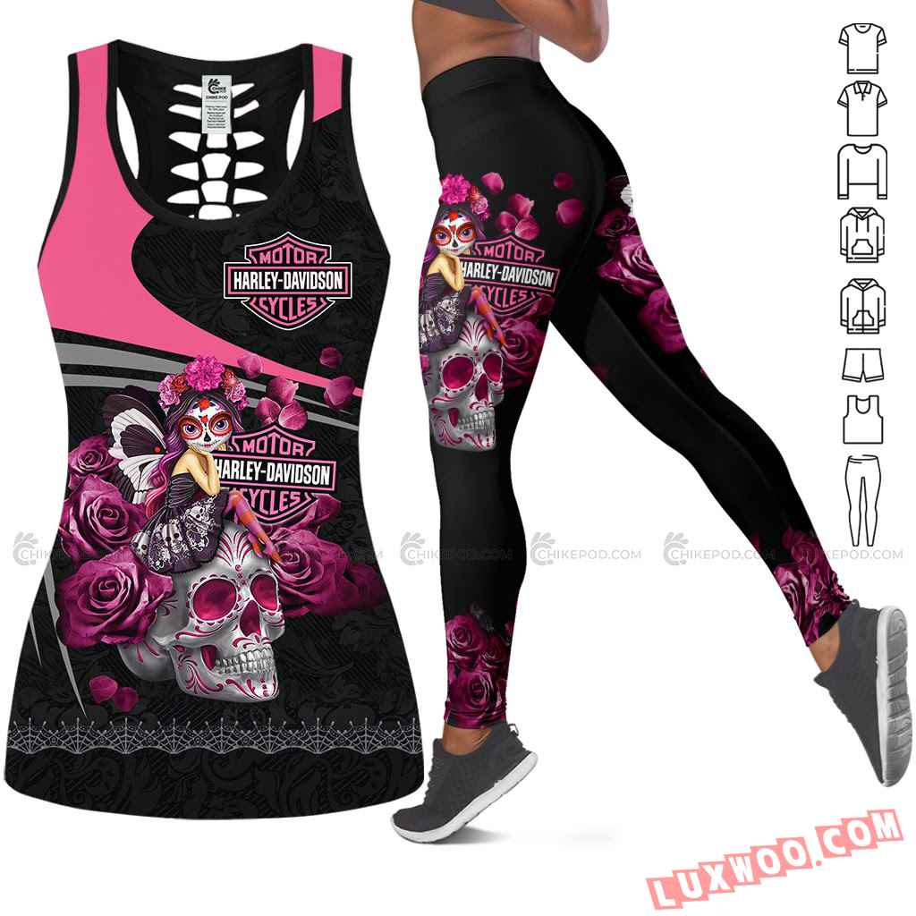 Love Motorbike Hollow Out Tank Top And Leggings Nc700