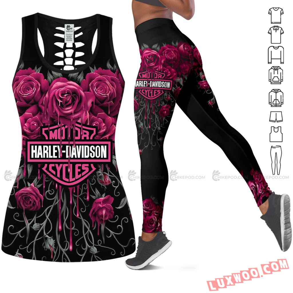 Love Motorbike Hollow Out Tank Top And Leggings Nc702