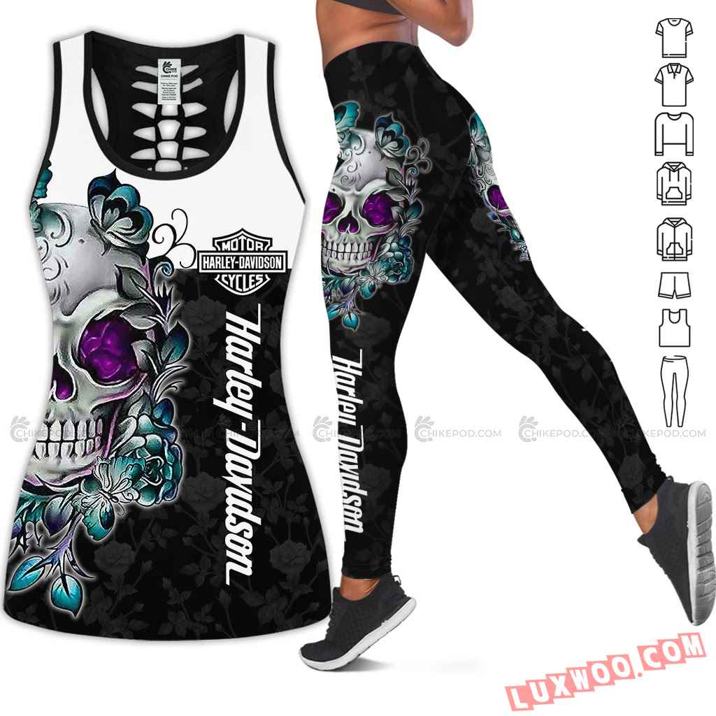 Love Motorbike Hollow Out Tank Top And Leggings Nc766