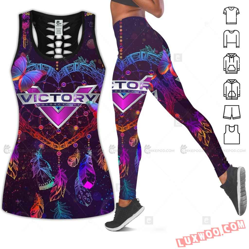 Love Motorbike Hollow Out Tank Top And Leggings Nt309
