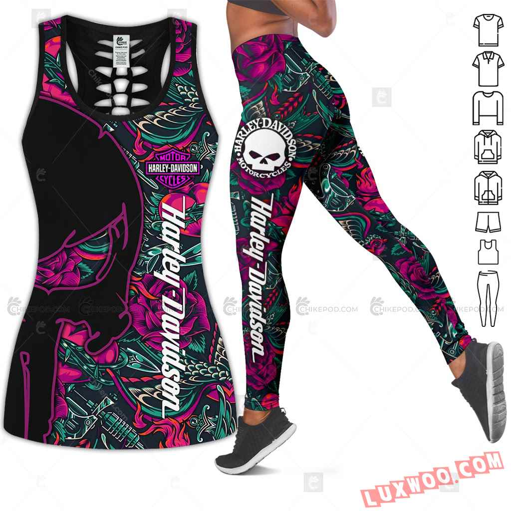 Love Motorbike Hollow Out Tank Top And Leggings Nt575