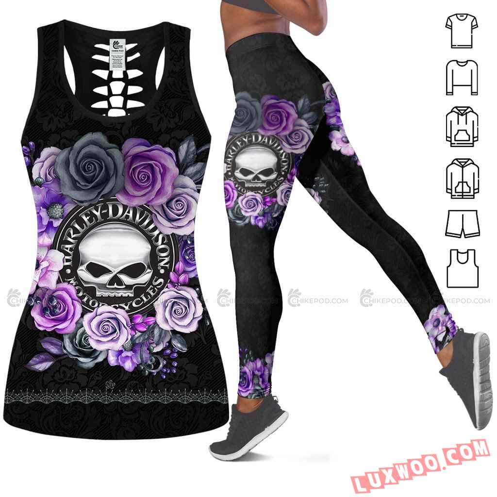 Love Motorbike Hollow Out Tank Top And Leggings Ts222