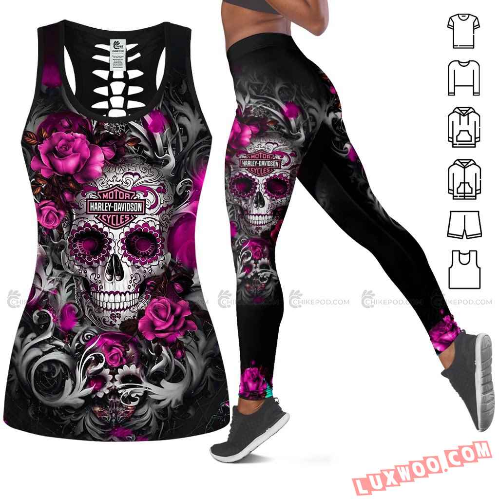 Love Motorbike Hollow Out Tank Top And Leggings Ts228