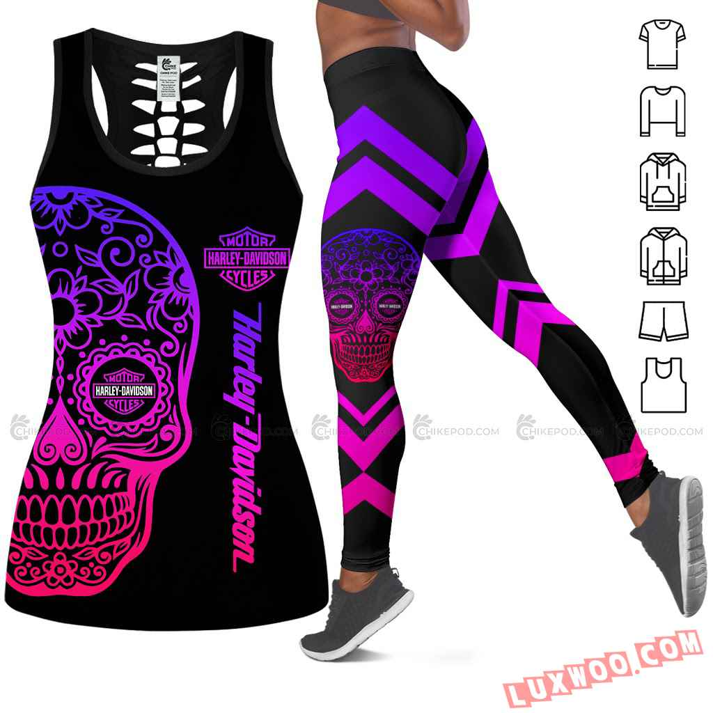 Love Motorbike Hollow Out Tank Top And Leggings Ts320
