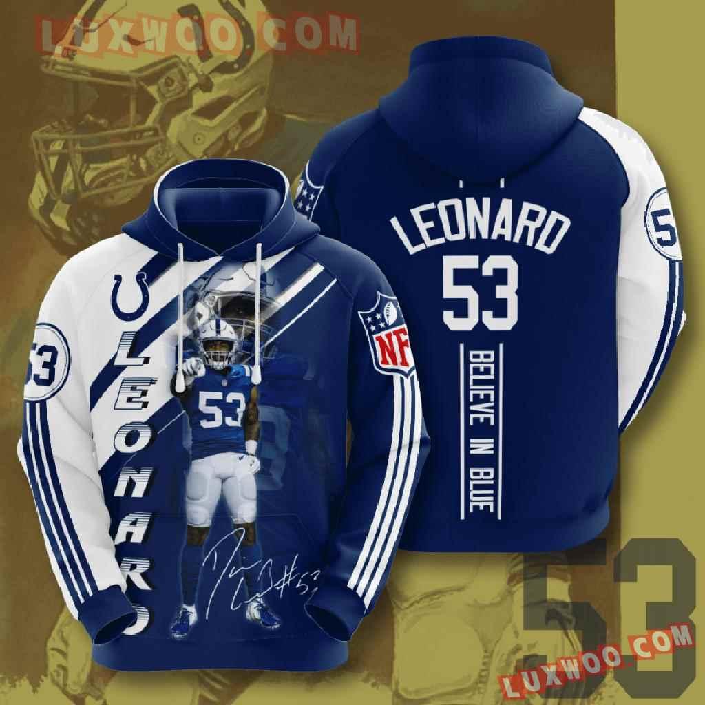 Nfl Indianapolis Colts 3d Hoodies Printed Zip Hoodies Sweatshirt Jacket V14