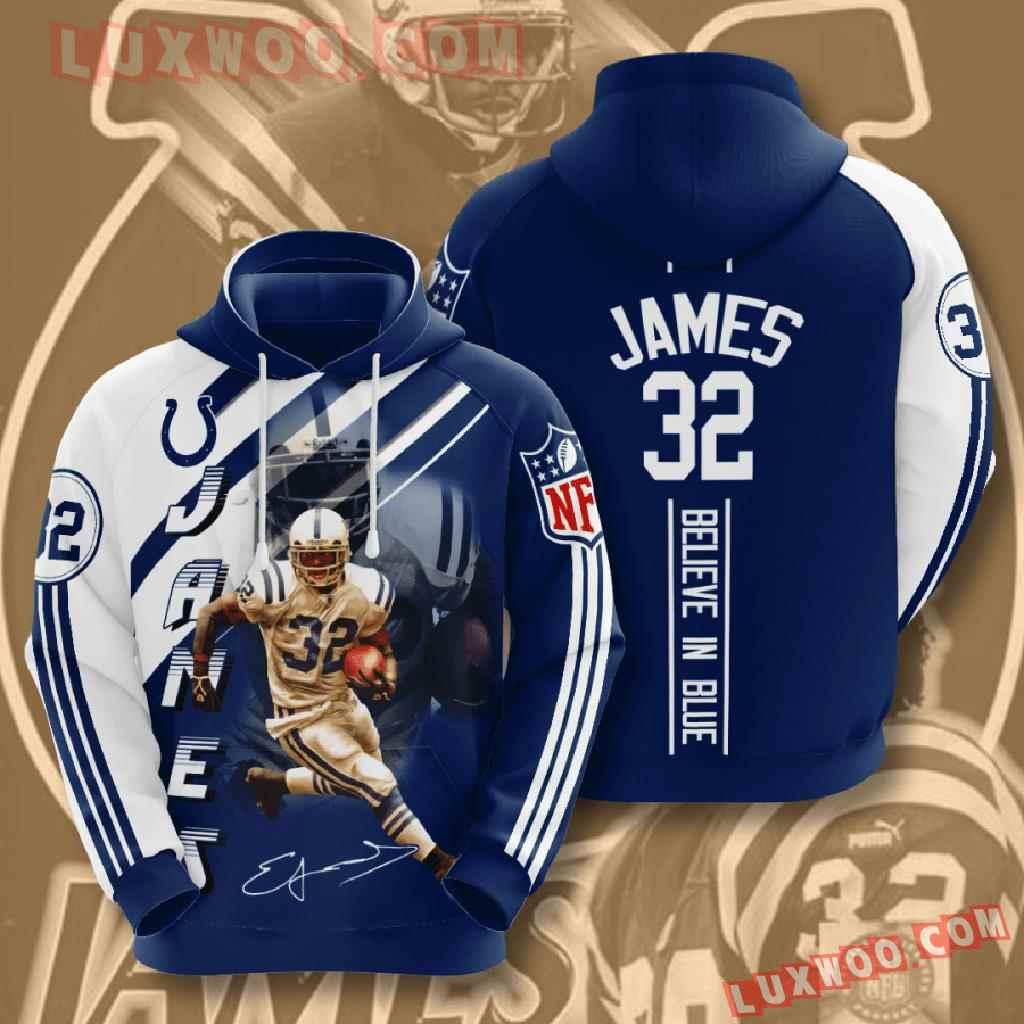 Nfl Indianapolis Colts 3d Hoodies Printed Zip Hoodies Sweatshirt Jacket V16