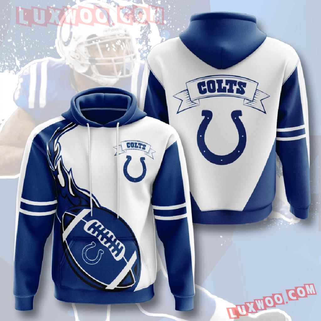 Nfl Indianapolis Colts 3d Hoodies Printed Zip Hoodies Sweatshirt Jacket V4