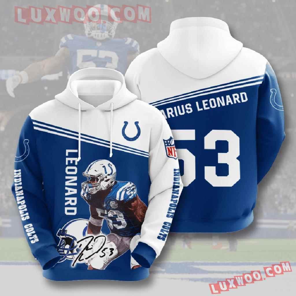 Nfl Indianapolis Colts 3d Hoodies Printed Zip Hoodies Sweatshirt Jacket V9