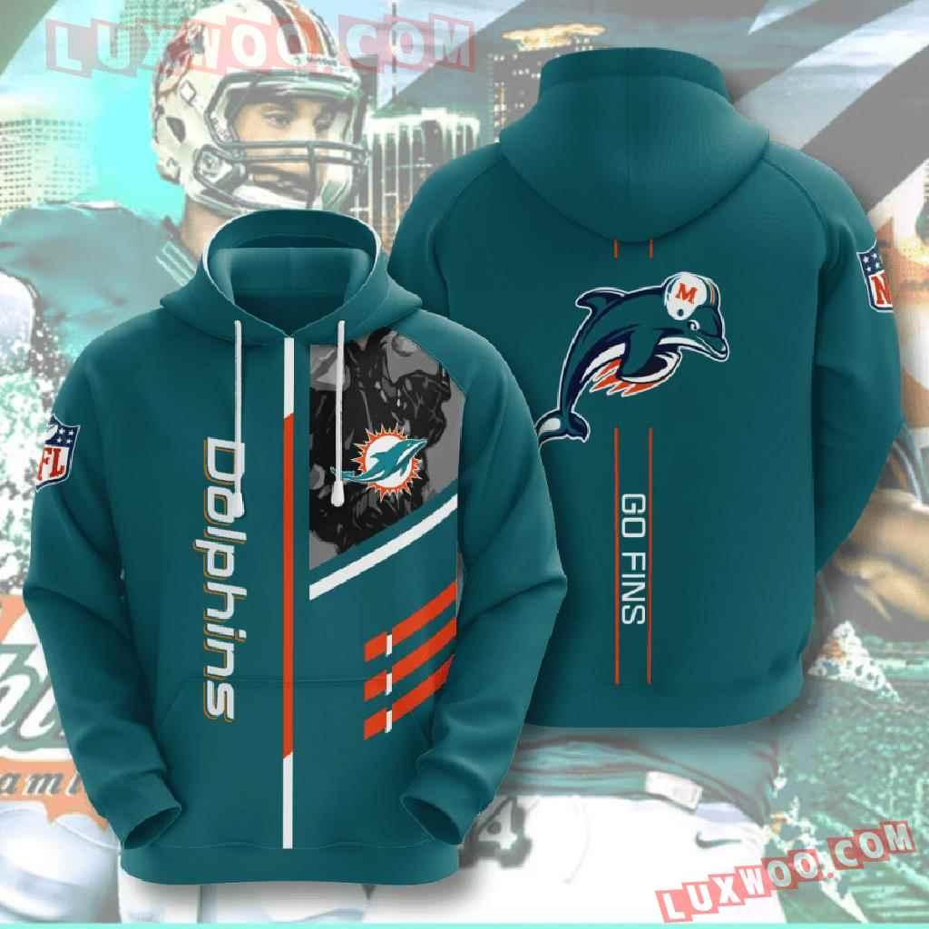 Nfl Miami Dolphins 3d Hoodies Printed Zip Hoodies Sweatshirt Jacket V1