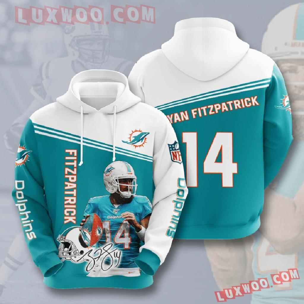 Nfl Miami Dolphins 3d Hoodies Printed Zip Hoodies Sweatshirt Jacket V10