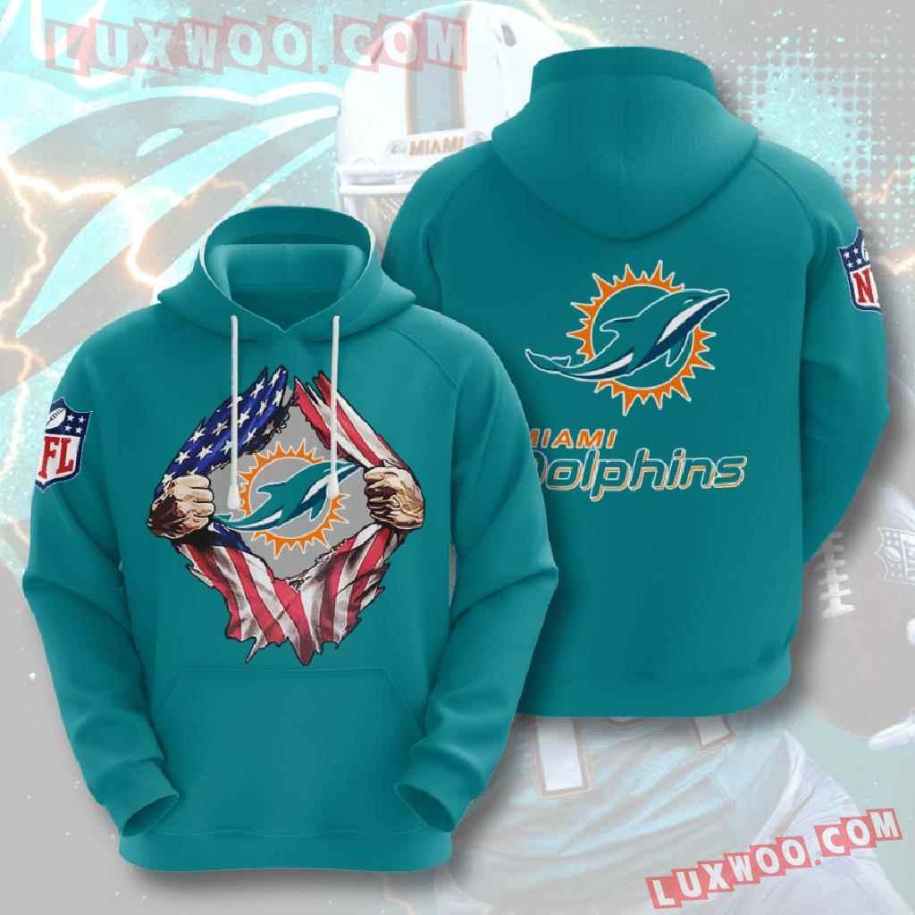 Nfl Miami Dolphins 3d Hoodies Printed Zip Hoodies Sweatshirt Jacket V2