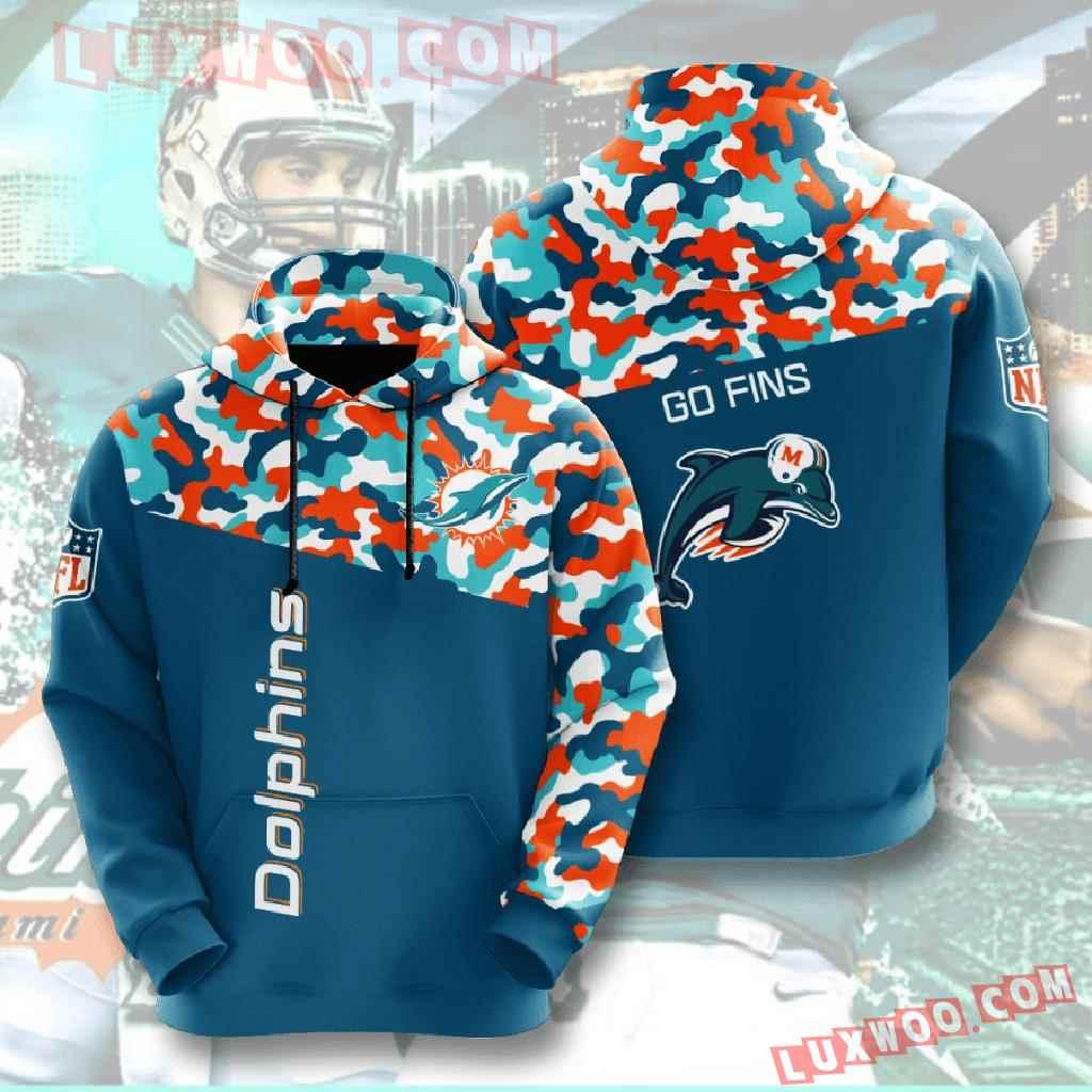 Nfl Miami Dolphins 3d Hoodies Printed Zip Hoodies Sweatshirt Jacket V3