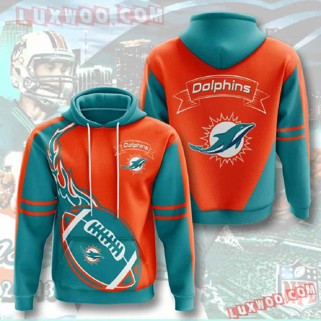 Nfl Miami Dolphins 3d Hoodies Printed Zip Hoodies Sweatshirt Jacket V4
