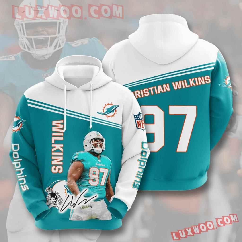 Nfl Miami Dolphins 3d Hoodies Printed Zip Hoodies Sweatshirt Jacket V6