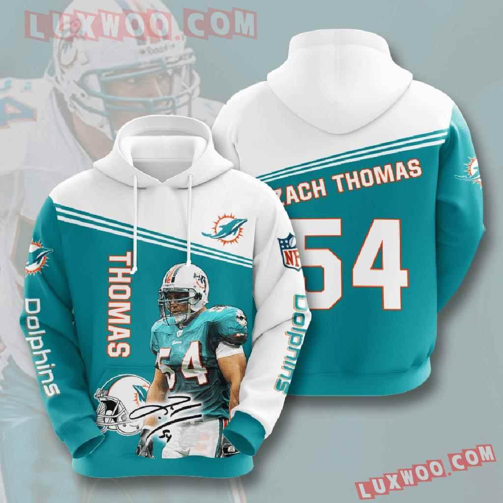 Nfl Miami Dolphins 3d Hoodies Printed Zip Hoodies Sweatshirt Jacket V8