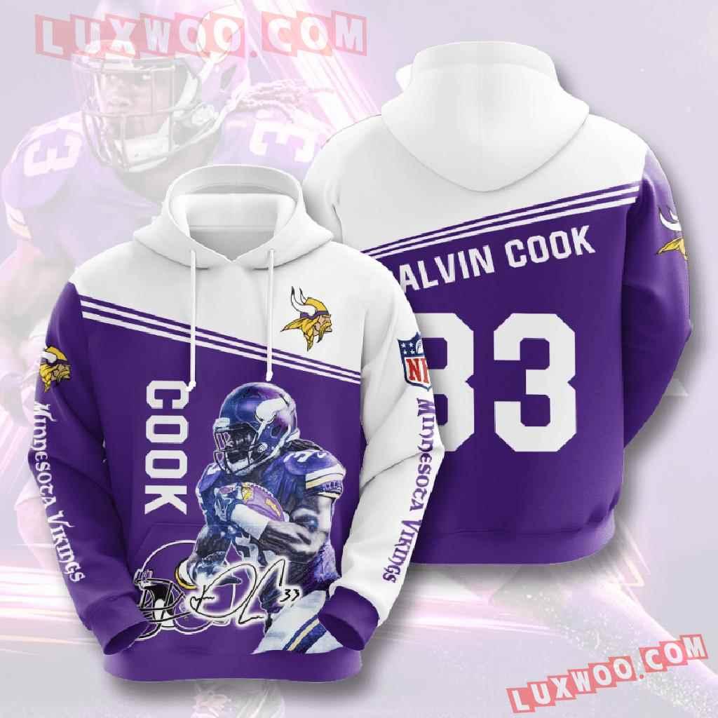 Nfl Minnesota Vikings 3d Hoodies Printed Zip Hoodies Sweatshirt Jacket V10