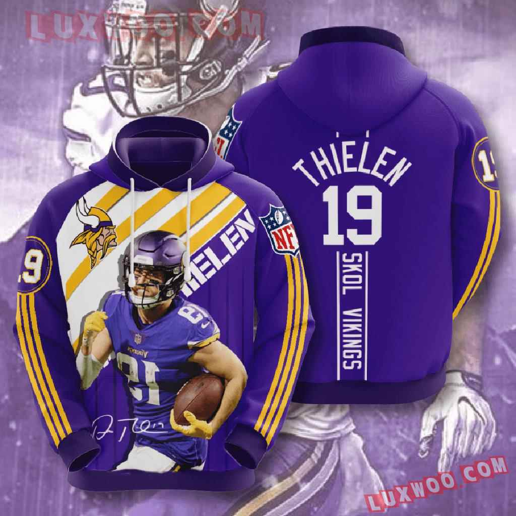 Nfl Minnesota Vikings 3d Hoodies Printed Zip Hoodies Sweatshirt Jacket V14