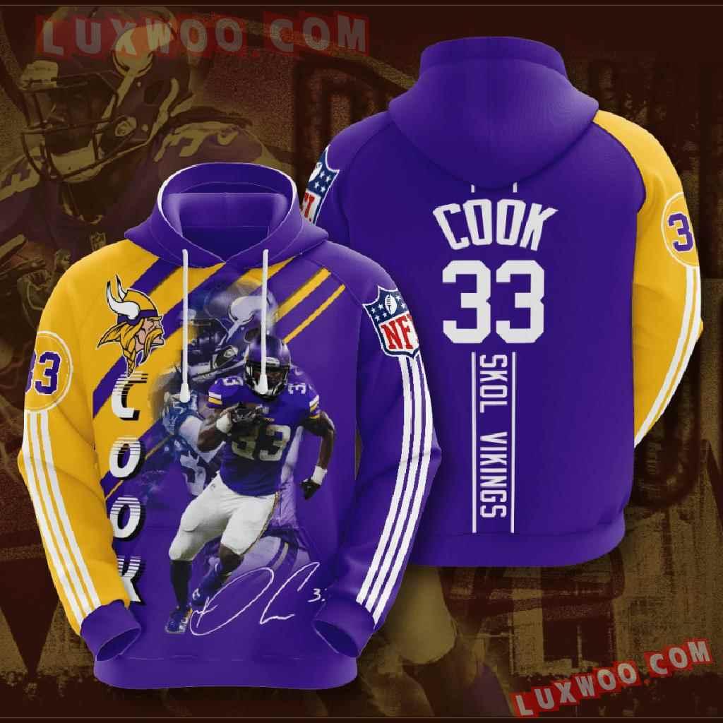 Nfl Minnesota Vikings 3d Hoodies Printed Zip Hoodies Sweatshirt Jacket V2