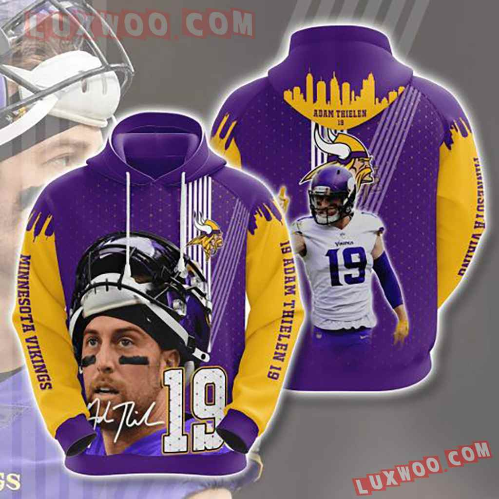 Nfl Minnesota Vikings 3d Hoodies Printed Zip Hoodies Sweatshirt Jacket V24