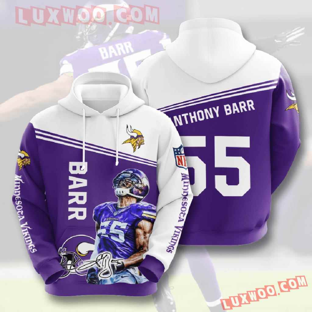 Nfl Minnesota Vikings 3d Hoodies Printed Zip Hoodies Sweatshirt Jacket V26
